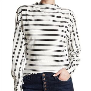Free People Ardmore Cut Out Striped Blouse